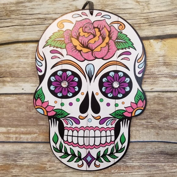 25 Day Of The Dead Sugar Skull Hang Wall Sign Boutique